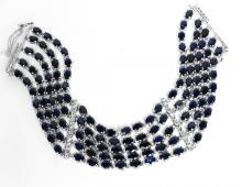 60.01ctw Blue & White Sapphire Silver Bracelet K19J18