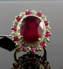 14kt YellowGold 16.20ctw Ruby&Diamond Ring K36J19