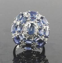 14kt WhiteGold 7.24ctw Sapphire&Diamond Ring W5690