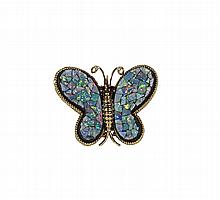 14kt G 1.60cts Opal Inlay Butterfly PD W2618