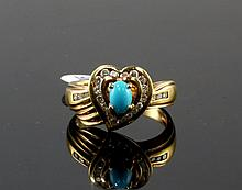 18kt YG 0.37ct Turquoise 0.39ctw Dia RN W1065