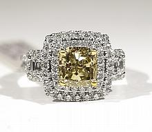 GIA 18K YG & WG 3ct Fancy Yellow Dia 3.12cts Dia RN