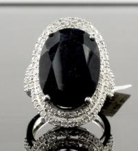 27.98ctw Blue & White Sapphire Silver Ring K59J8
