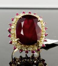 14kt YellowGold 28.21ctw Ruby&Diamond Ring K29J99