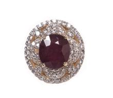 7.85ct Ruby & Sapphire Silver Ring K34J3