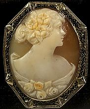 Vintage Shell Cameo Brooch/Pendant W1006
