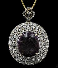 119.22 ctw Yellow & White Gold Plated Silver Ruby & Sapphire Pendant K12J29