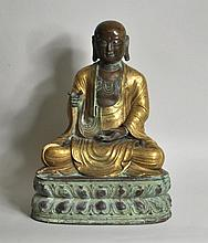 Chinese Parcel Gilt Bronze Lohan Figure