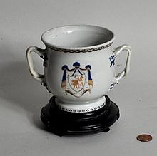 Chinese Porcelain Armorial Two Handled Cup/Stand