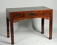 Chinese Elmwood Three Drawer Ladies Desk
