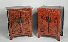 Near Pair Gilt Red Lacquer Low Cabinets