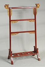 Chinese Red Lacquer & Gilt Robe Stand