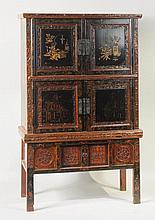 Chinese Carved, Painted & Lacquered Cabinet