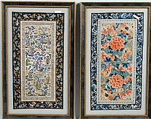 Two Framed Chinese Embroidery Panels