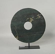 Chinese Green Jade Bi Disc