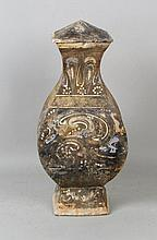 Chinese Painted Pottery Covered Hu Form Vessel