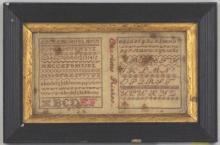 Miniature Framed Linen Alphabet Sampler