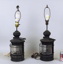 Pair Black Painted Metal Lanterns, Now As Lamps