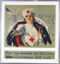 Harrison Fisher, Framed WWI Red Cross Poster