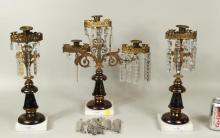 Three Piece Parcel Gilt Brass Girandole Garniture