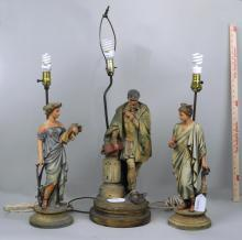Three Painted Spelter Figural Lamps