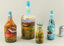 Folk Art Painted Bottles, Country Scenes