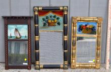 3 Federal Mirrors W/Reverse Glass Painted Panels