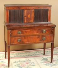 Hepplewhite Style Inlaid Mahogany Tambour Desk