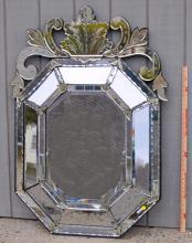 Antique Venetian Glass Octagonal Mirror