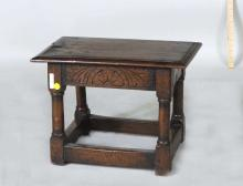 English Carved Oak Joint Stool