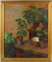 Unsigned Still Life Of Potted Plants O/C