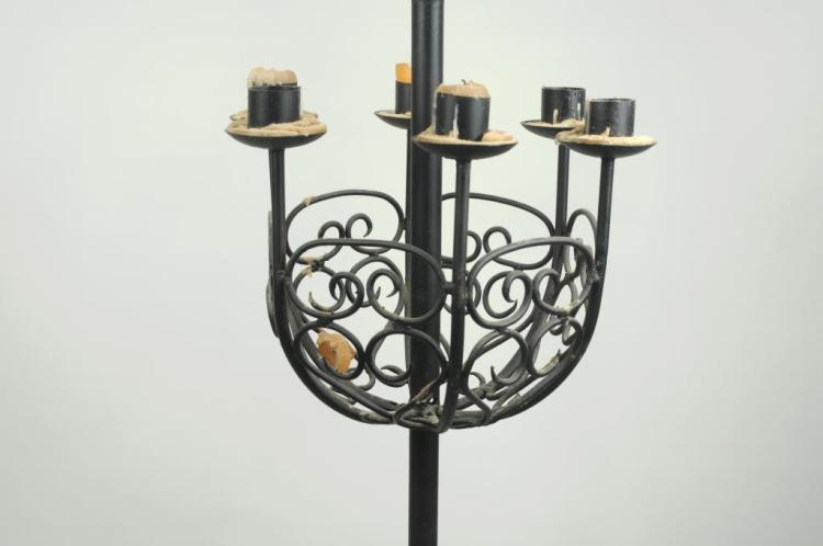 Gilt Wrought Iron Floor Lamp, 6 Light Candle Stand