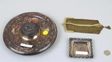 Estate Lot - S/P Inkwell, Sterling Tray, Mesh Bag