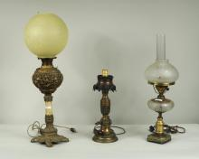 Three Victorian Converted Metal Table Lamps