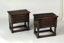 Pair Jacobean Style Carved Oak Box Stools