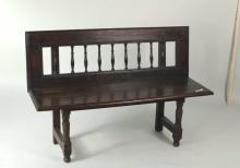 Continental Oak Hall Bench With Spindled Back
