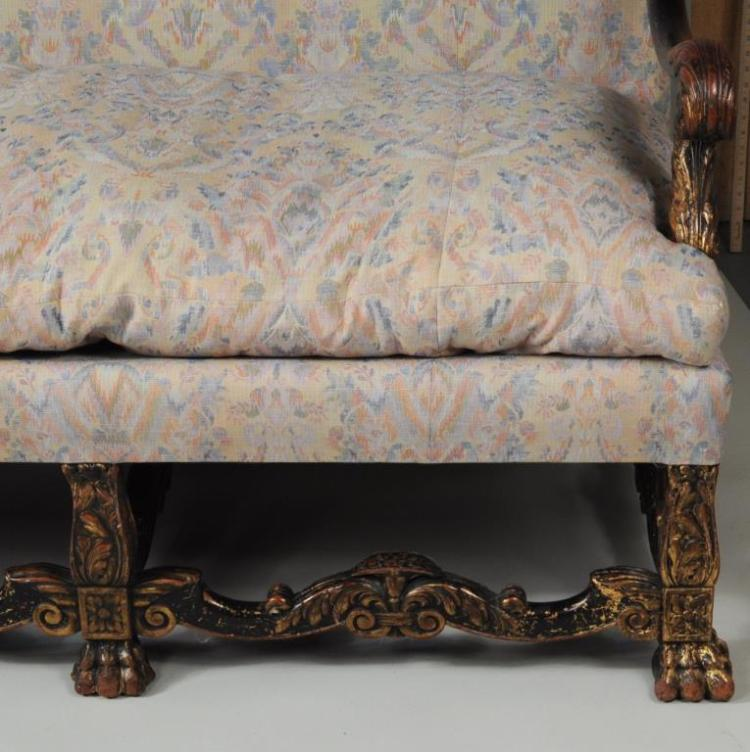 Baroque style ebonized parcel gilt canape for Canape style baroque
