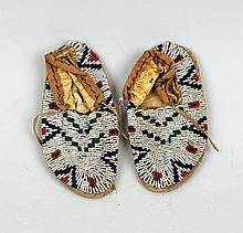 Pair of Child's Beaded Hide Moccasins