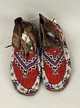 Pair of Sioux Beaded Hide Moccasins