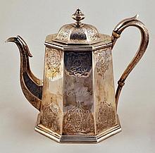 American Engraved Coin Silver Teapot