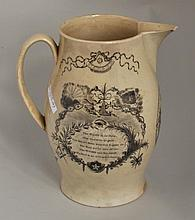 English Creamware Masonic Transfer Pitcher
