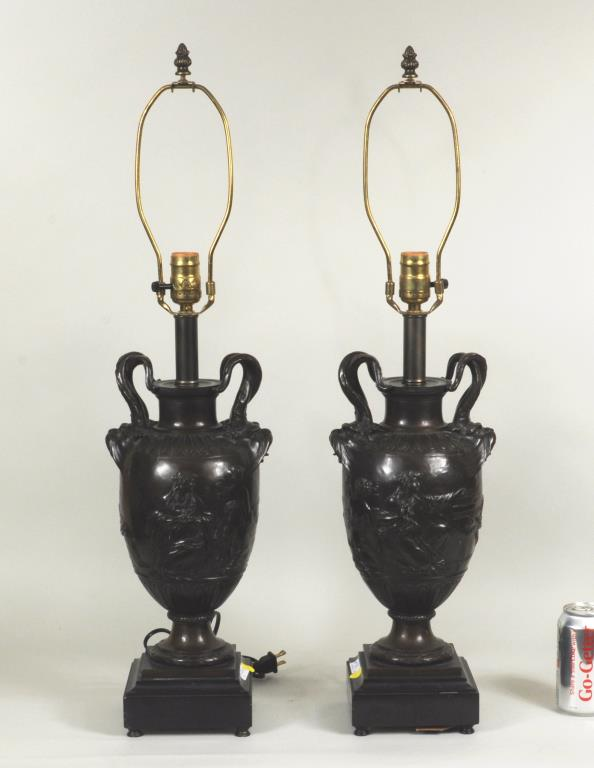 Pair Cast Bronze Or Alloy Urn Form Table Lamps