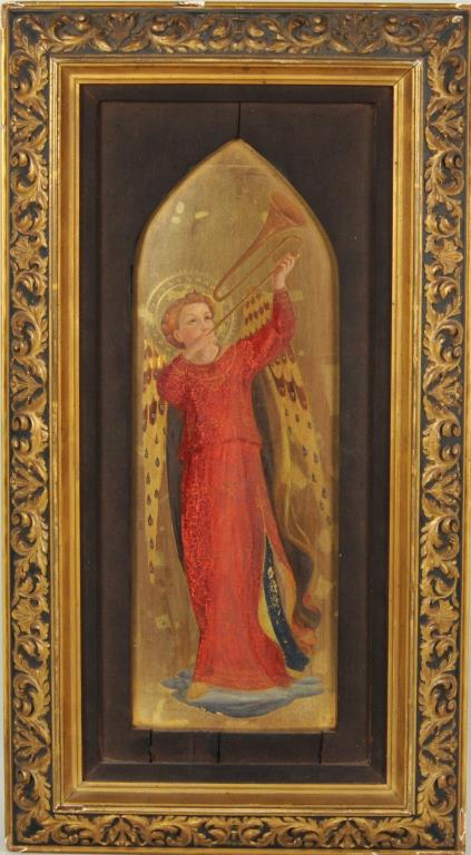 Italian Gilded & Painted Porcelain Angel Plaque
