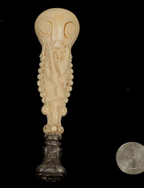 Continental Carved Ivory Handled Seal