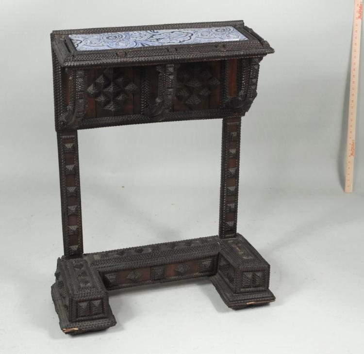 Unusual Tramp Art Side Table