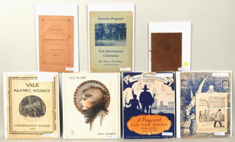 Seven Vintage Yale Related Pamphlets
