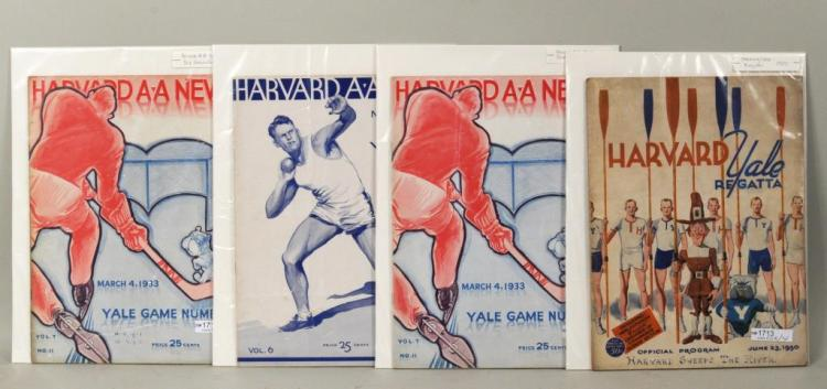 Four Vintage Harvard Sports Pamphlets