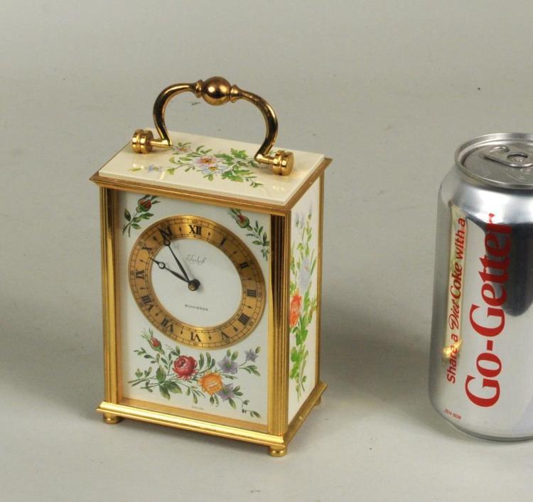 Bucherer Brass Paint Decorated Carriage Clock