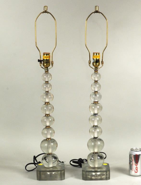 Pair Modern Glass Table Lamps