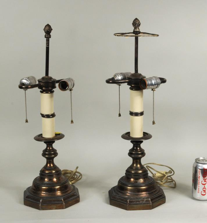 Pair Baroque Style Plated Candlestick Form Lamps